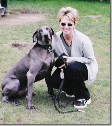 Here's a really old photo of me and Bleu, my Weimaraner.